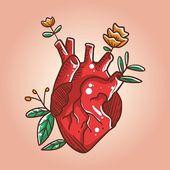 Heart grows roses illustration