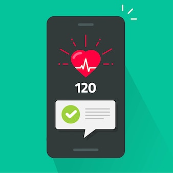 Heart health check test on mobile phone app tracker