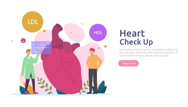 Здоровье сердца, болезни, кардиология концепции с характером. симптомы гипертонии и измерение артериального давления холестерина. медицинский осмотр врача, проверка услуг по трансплантации здоровья
