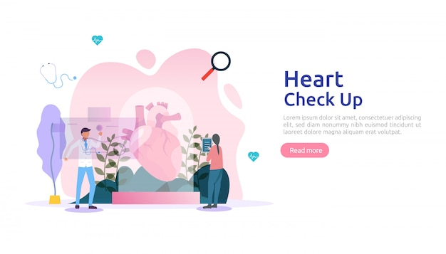 Heart health, disease, cardiology concept with character. hypertension symptoms & cholesterol blood pressure measurement. medical examination doctor checkup services for healthcare transplantation