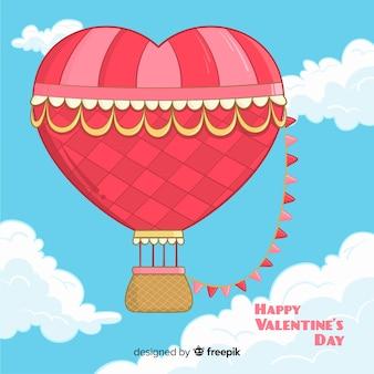 Heart  hot air balloon background