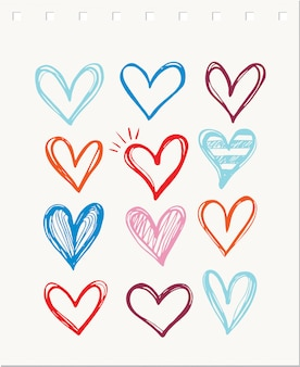 Heart icon collection, love symbols template