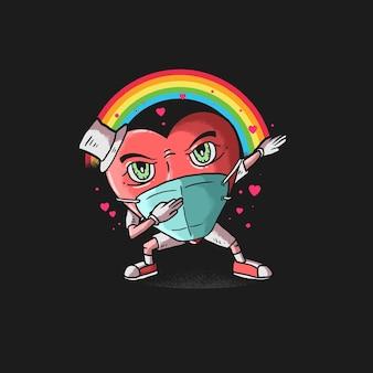 Heart icon dabbing dance illustration