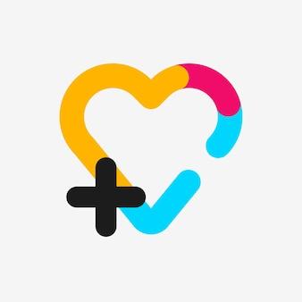 Icona del cuore, illustrazione vettoriale di design piatto simbolo sanitario