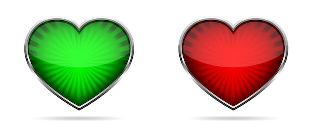 Значок сердца. набор глянцевых сердечек в хромированной рамке.