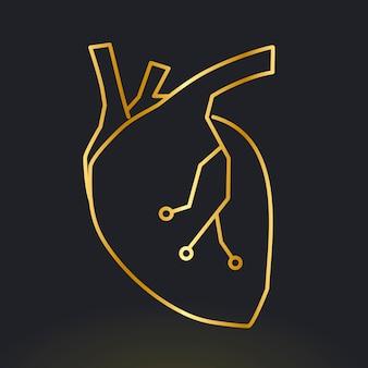 Heart icon vector for cardiac technology