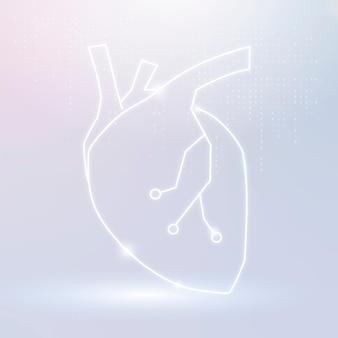 Vettore dell'icona del cuore per la tecnologia cardiaca