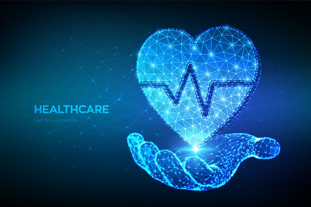 Heart icon with heartbeat line in hand. healthcare, medicine and cardiology concept. abstract low polygonal heart with ecg line.