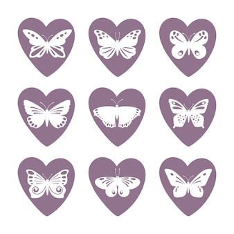 Heart icons with lace butterfly silhouettes  set