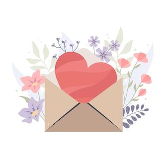 花の背景に封筒の心