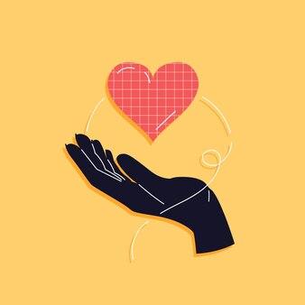 Сердце в руке в трендовом стиле для открытки