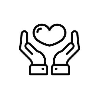 손 라인 아이콘에 심장입니다. 기부. 도움말 아이콘입니다. 사랑을 주다. 자원 봉사. 격리 된 흰색 배경에 벡터입니다. eps 10.