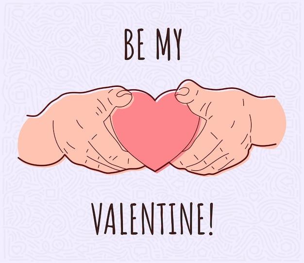 손에 심장입니다. 발렌타인 데이.
