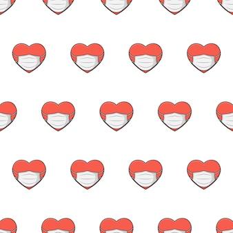 白い背景の上の医療マスクシームレスパターンの心。ヘルスケアのテーマのベクトル図