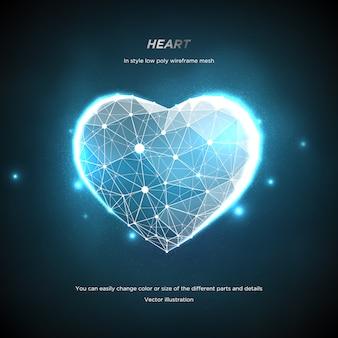 Сердце в стиле низкая поли каркасная сетка. аннотация на синем фоне. концепция любви или технологии. сплетение линий и точек в созвездии. частицы связаны в геометрической форме. звездное небо.