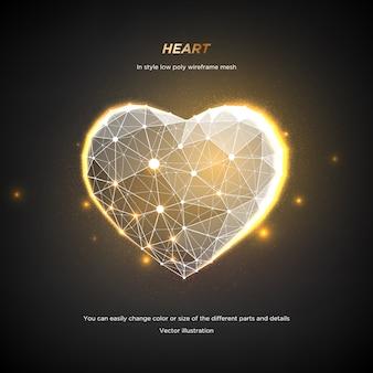Сердце в стиле низкая поли каркасная сетка. аннотация на темном фоне. концепция любви или технологии. сплетение линий и точек в созвездии. частицы связаны в геометрической форме. звездное небо.