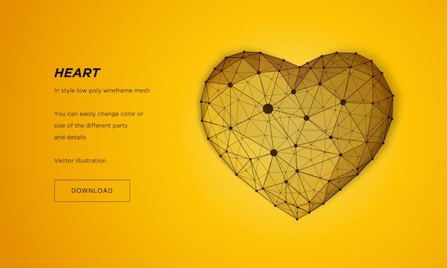ハートインスタイルの低ポリワイヤフレームメッシュ。黄色の背景に抽象化します。コンセプト愛。神経叢ラインと星座のポイント。粒子は幾何学的な形で接続されています。
