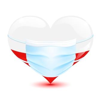 ポーランドの心臓はコロナウイルスから保護するための医療用マスクで色を旗印します