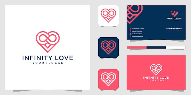 Heart infinity loop logo icon and business card