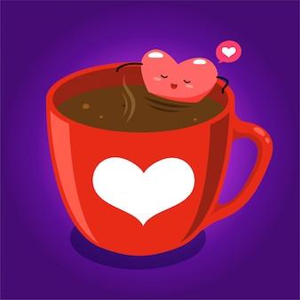 따뜻한 초콜릿의 유리 안에 심장