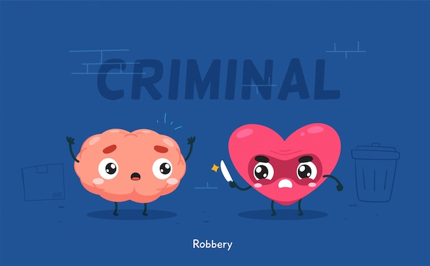The heart is trying to rob the brain. isolated illustration