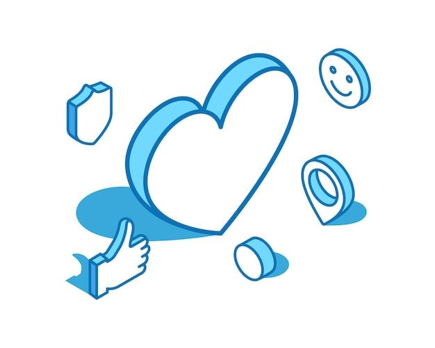Heart isometric line illustration charity donation like d banner template
