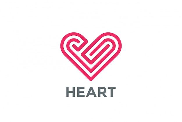 Heart labyrinth logo linear style
