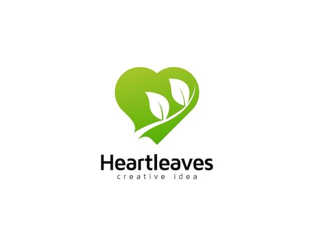 Heart and leaves logo symbol design