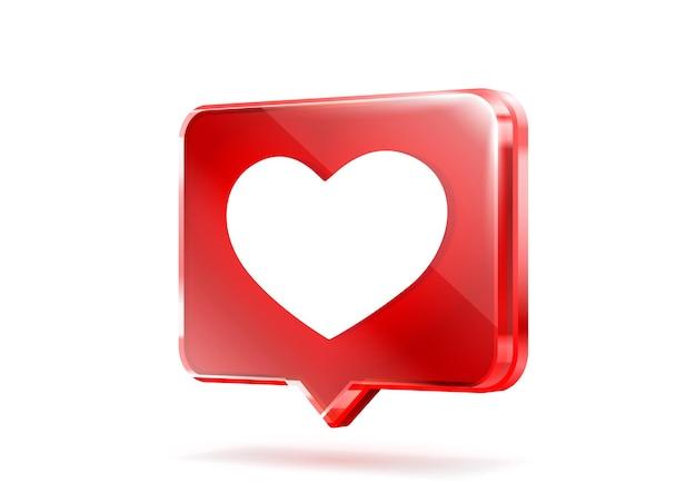 Сердце как значок подписывает последователь любви пост в социальных сетях