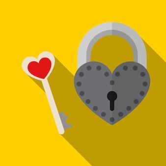 Сердце замок плоский значок иллюстрации изолированных вектор знак символ