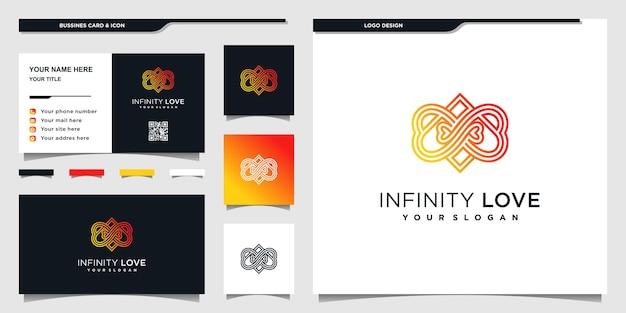 ユニークなラインアートスタイルとbusinnesカードデザインプレミアムベクトルとハートのロゴデザイン