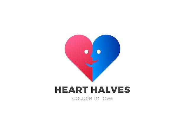 Logo del cuore. marchio delle coppie di amore