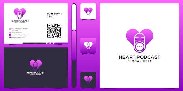 Heart logo with business card design vector premium