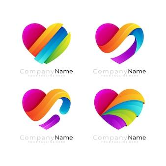 자선 디자인 커뮤니티가 있는 하트 로고, 다채로운 아이콘