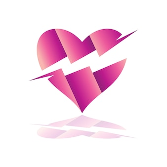 Heart logo with lightning variations