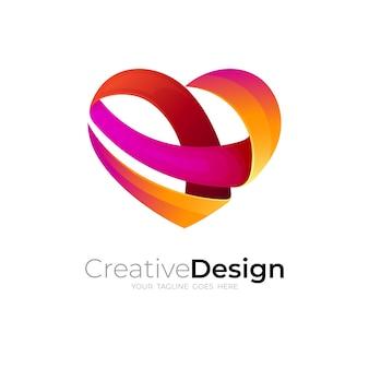 リボンデザインの組み合わせでハートのロゴ