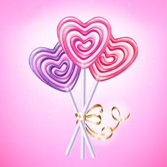 Heart lollipop vector illustration. sweet spiral candies on stick with golden ribbon and bow. love symbol.