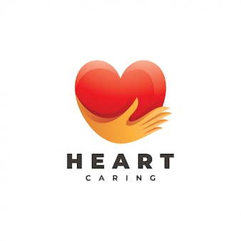 Heart love and care hand logo