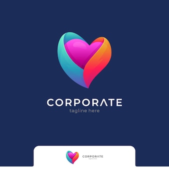 Heart or love colorful gradient logo vector