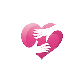 Heart love and hand care logo