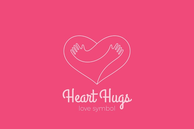 Heart love hugs logo. hugging hands linear style. valentines day romantic dating charity donation logotype