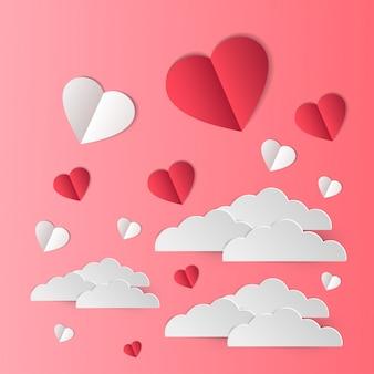 心の愛のイラストが空を飛ぶ