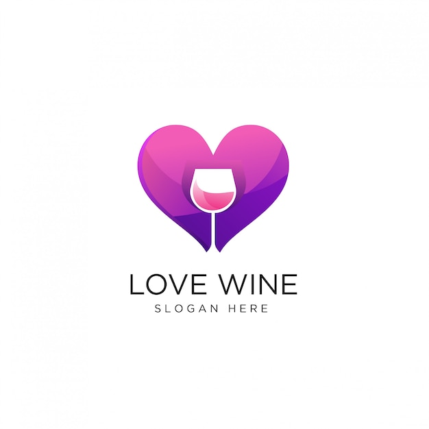 Heart love wine logo design template