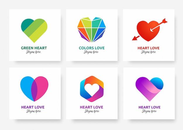 Коллекция шаблонов логотипов heart love