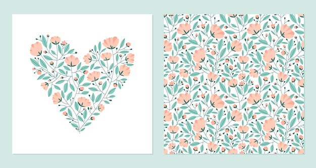 Heart made of flowers and seamless pattern.
