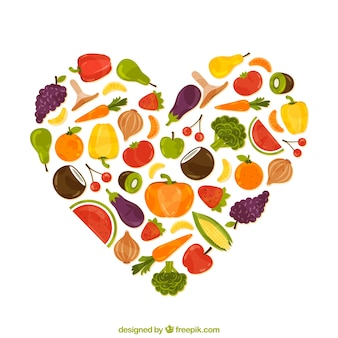 Heart made of healthy food