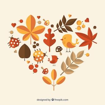 秋の自然で作られたハート
