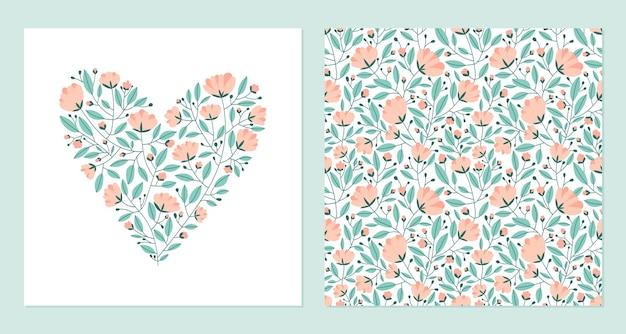 花とシームレスなパターンで作られたハート。