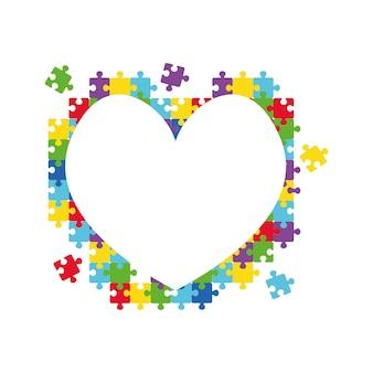 パズルのピースで作られたハート世界自閉症啓発デーカラフルなパズルベクトルシンボル医療フラット