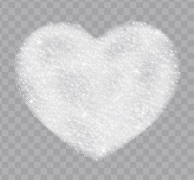 Heart made of soap foam with bubbles isolated on transparent background. bath lather top view realistic